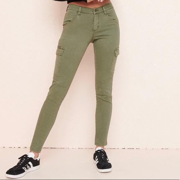 Garage Army Green Cargo Skinny Jeans